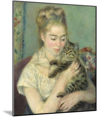 Woman with a Cat, 1875-Pierre-Auguste Renoir-Mounted Giclee Print