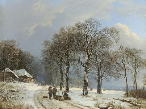 Winter Landscape, 1835-38-Barend Cornelis Koekkoek-Stretched Canvas Print