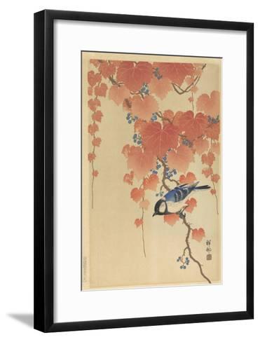 Great Tit on Paulownia Branch, 1925-36-Ohara Koson-Framed Art Print