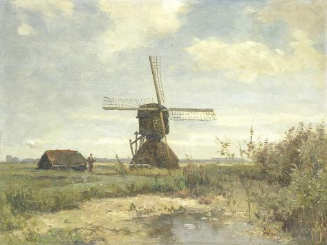 Sunny Day, a Mill to a Waterway, C. 1860-1903-Paul Joseph Constantin Gabriel-Stretched Canvas Print