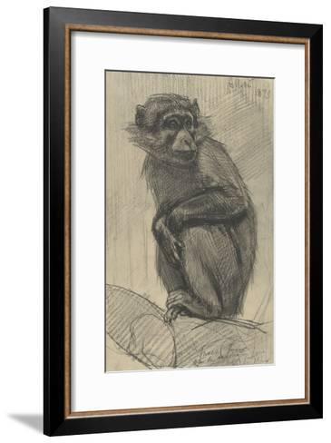 Monkey on a Branch, 1879-August Allebe-Framed Art Print