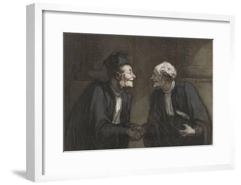 Two Lawyers Shake Hands, C. 1840-60-Honore Daumier-Framed Art Print