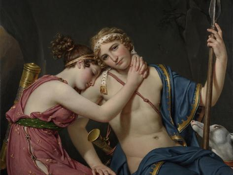 Farewell of Telemachus and Eucharis, 1818-Jacques-Louis David-Stretched Canvas Print