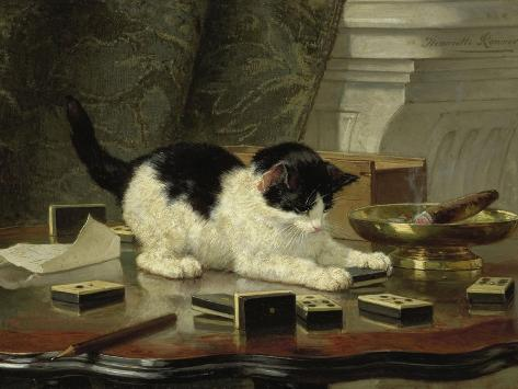 The Cat at Play, by Henriette Ronner, C. 1860-78, Belgian-Dutch Painting on Panel-Henriette Ronner-Stretched Canvas Print