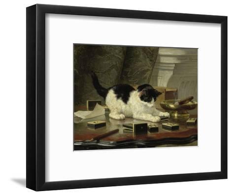The Cat at Play, by Henriette Ronner, C. 1860-78, Belgian-Dutch Painting on Panel-Henriette Ronner-Framed Art Print