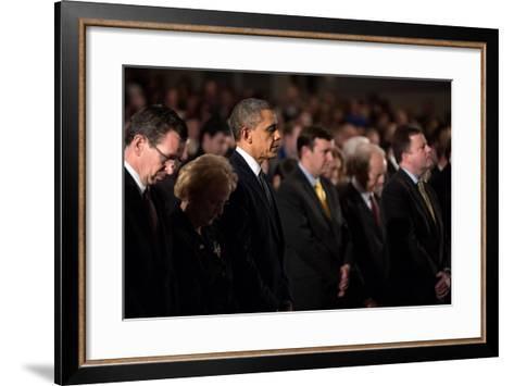 President Obama Attends a Sandy Hook Interfaith Vigil at Newtown High School in Newtown, Conn--Framed Art Print