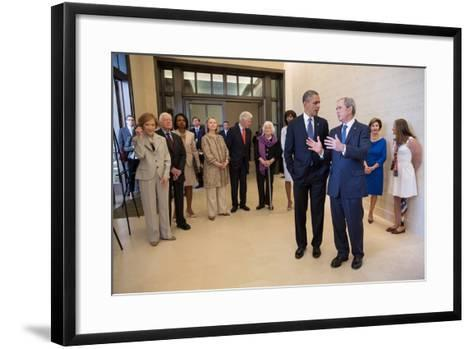 President Barack Obama Talks with Former President George W. Bush, April 25, 2013--Framed Art Print