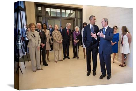 President Barack Obama Talks with Former President George W. Bush, April 25, 2013--Stretched Canvas Print