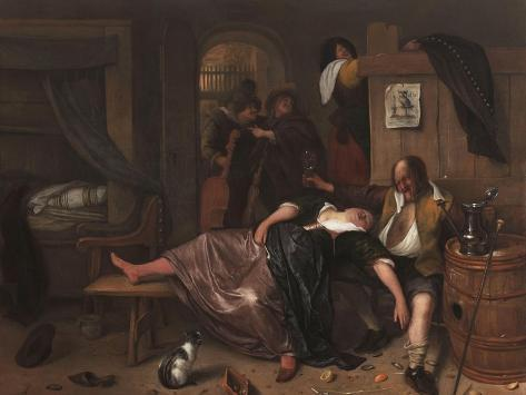 The Drunken Couple, 1655-Jan Steen-Stretched Canvas Print
