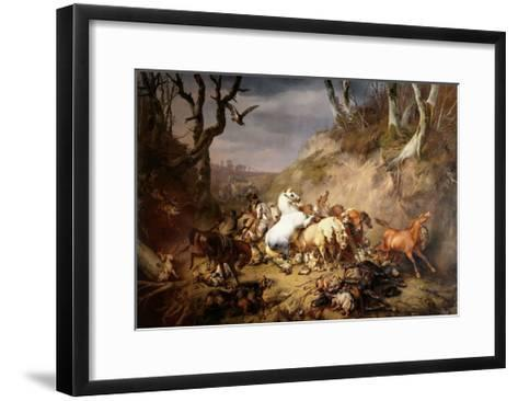Hungry Wolves Attack a Group of Riders, by Eugene Joseph Verboeckhoven, 1836-Eugene Joseph Verboeckhoven-Framed Art Print