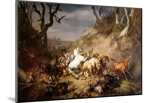 Hungry Wolves Attack a Group of Riders, by Eugene Joseph Verboeckhoven, 1836-Eugene Joseph Verboeckhoven-Mounted Giclee Print