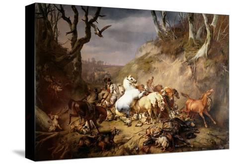 Hungry Wolves Attack a Group of Riders, by Eugene Joseph Verboeckhoven, 1836-Eugene Joseph Verboeckhoven-Stretched Canvas Print