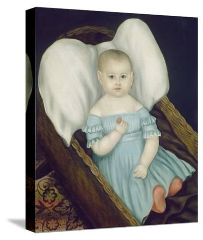 Baby in Wicker Basket, 1840-Joseph Whiting Stock-Stretched Canvas Print