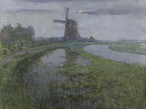 Oostzijdse Mill Along the River Gein by Moonlight, C. 1903-Piet Mondriaan-Stretched Canvas Print