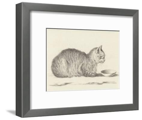 Lying Cat, Facing Right, by a Dish, 1812-Jean Bernard-Framed Art Print