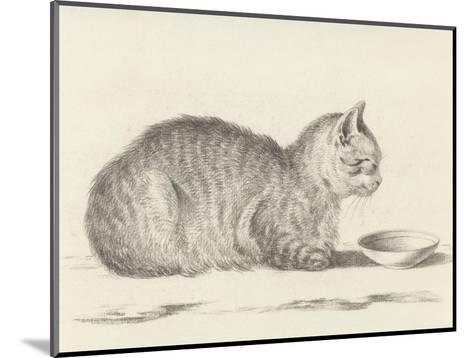 Lying Cat, Facing Right, by a Dish, 1812-Jean Bernard-Mounted Giclee Print