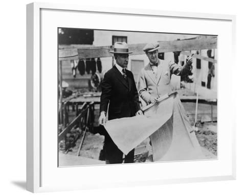 Adolph Zukor and Jesse Lasky at a Construction Site Holding Blueprints--Framed Art Print