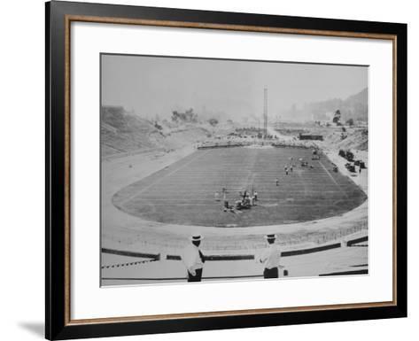 Construction of the Rose Bowl Stadium, Pasadena, Los Angeles County, California--Framed Art Print