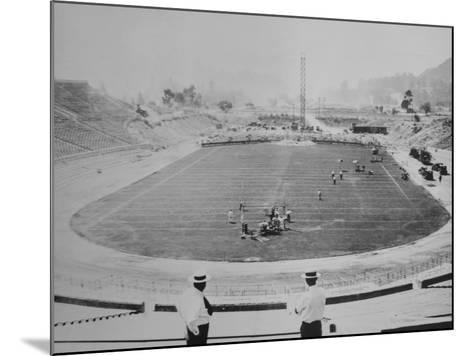 Construction of the Rose Bowl Stadium, Pasadena, Los Angeles County, California--Mounted Photo