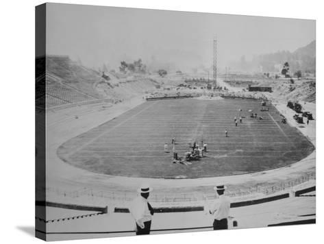 Construction of the Rose Bowl Stadium, Pasadena, Los Angeles County, California--Stretched Canvas Print