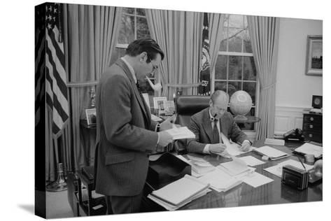 President Gerald Ford Meeting with His Chief of Staff, Donald Rumsfeld. Feb. 6, 1975--Stretched Canvas Print