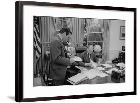 President Gerald Ford Meeting with His Chief of Staff, Donald Rumsfeld. Feb. 6, 1975--Framed Art Print