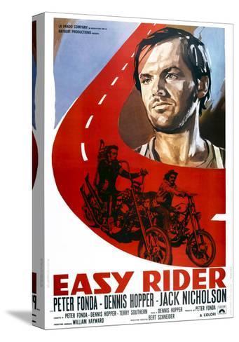 Easy Rider, Italian Poster Art, from Top: Jack Nicholson, Peter Fonda, Dennis Hopper, 1969--Stretched Canvas Print