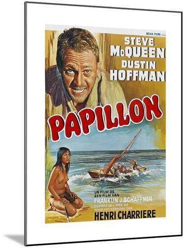 Papillon, Steve Mcqueen, Ratna Assan, Belgian Poster, 1973--Mounted Giclee Print