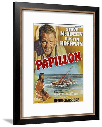 Papillon, Steve Mcqueen, Ratna Assan, Belgian Poster, 1973--Framed Art Print