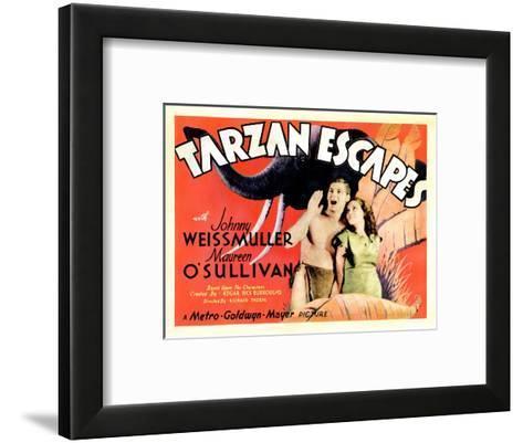 Tarzan Escapes, from Left: Johnny Weissmuller, Maureen O'Sullivan, 1936--Framed Art Print