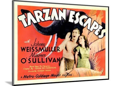 Tarzan Escapes, from Left: Johnny Weissmuller, Maureen O'Sullivan, 1936--Mounted Giclee Print