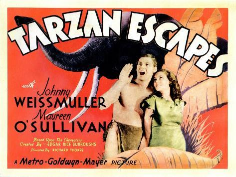Tarzan Escapes, from Left: Johnny Weissmuller, Maureen O'Sullivan, 1936--Stretched Canvas Print