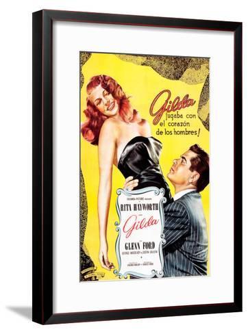 Gilda, Argentine Poster Art, Rita Hayworth, Glenn Ford, 1946--Framed Art Print