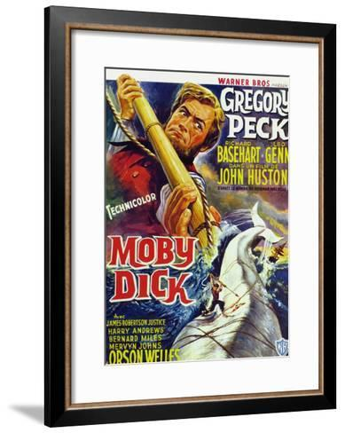 Moby Dick, Gregory Peck on French Poster Art, 1956--Framed Art Print
