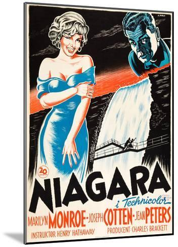 Niagara, L-R: Marilyn Monroe, Joseph Cotten on Danish Poster Art, 1953--Mounted Giclee Print