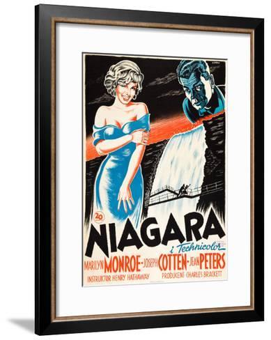 Niagara, L-R: Marilyn Monroe, Joseph Cotten on Danish Poster Art, 1953--Framed Art Print