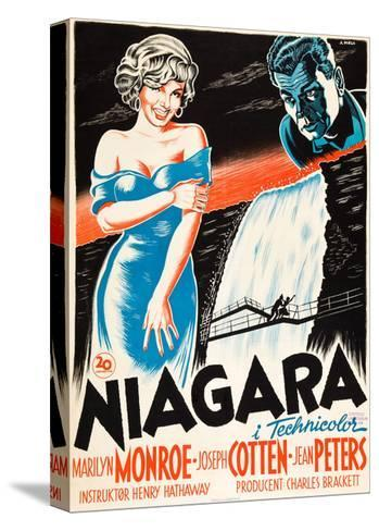 Niagara, L-R: Marilyn Monroe, Joseph Cotten on Danish Poster Art, 1953--Stretched Canvas Print