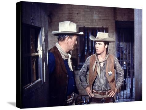 Rio Bravo, from Left: John Wayne, Ricky Nelson, 1959--Stretched Canvas Print