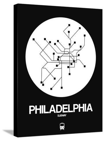 Philadelphia White Subway Map-NaxArt-Stretched Canvas Print