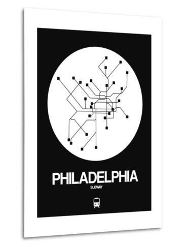 Philadelphia White Subway Map-NaxArt-Metal Print