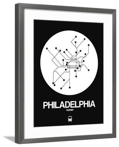 Philadelphia White Subway Map-NaxArt-Framed Art Print