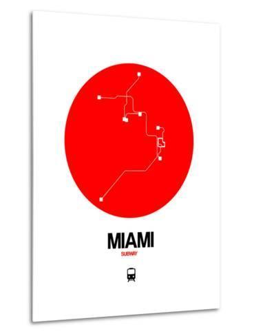 Miami Red Subway Map-NaxArt-Metal Print