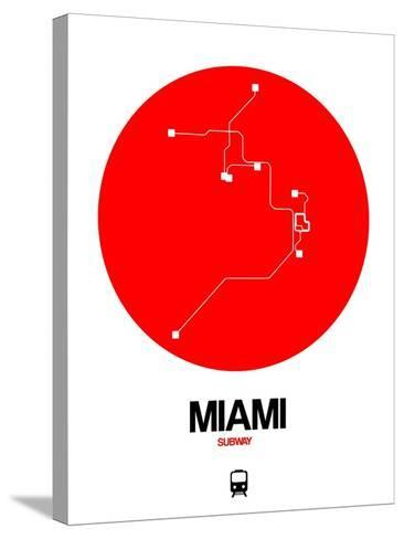 Miami Red Subway Map-NaxArt-Stretched Canvas Print