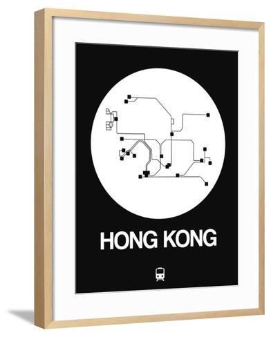 Hong Kong White Subway Map-NaxArt-Framed Art Print