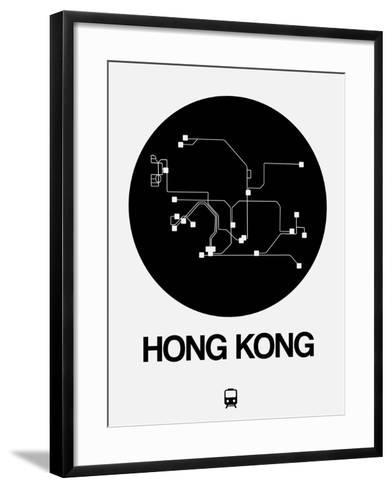 Hong Kong Black Subway Map-NaxArt-Framed Art Print