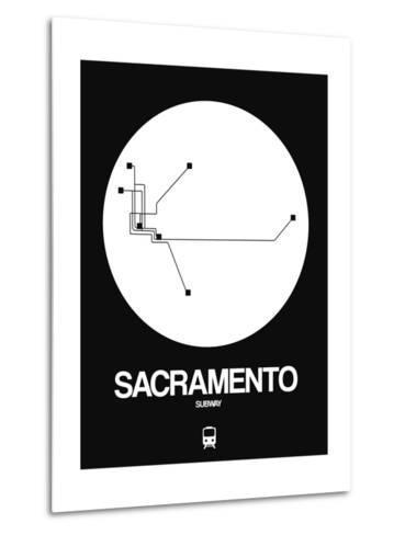 Sacramento White Subway Map-NaxArt-Metal Print