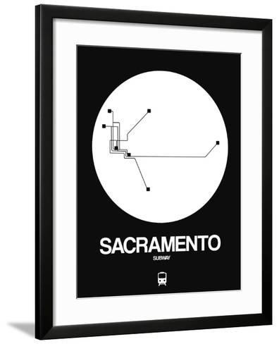 Sacramento White Subway Map-NaxArt-Framed Art Print