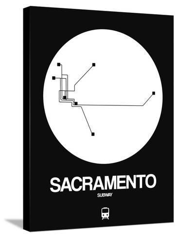 Sacramento White Subway Map-NaxArt-Stretched Canvas Print