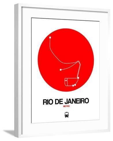 Rio De Janeiro Red Subway Map-NaxArt-Framed Art Print