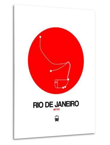 Rio De Janeiro Red Subway Map-NaxArt-Metal Print